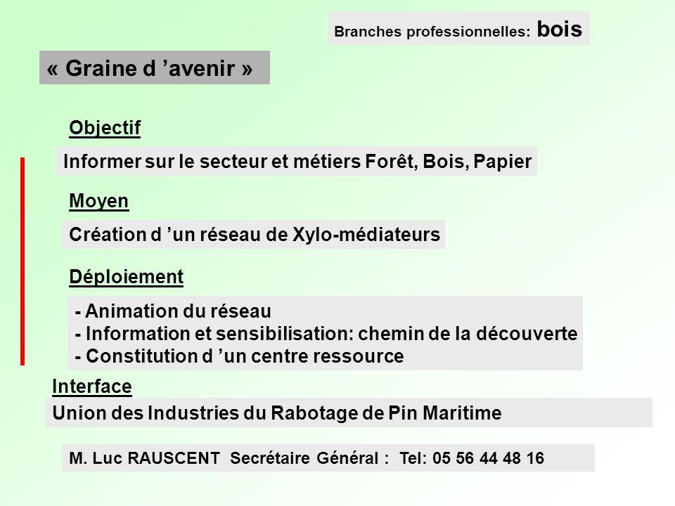 Informer sur le secteur et métiers Forêt, Bois, Papier Création d un réseau de Xylo-médiateurs « Graine d avenir » Branches professionnelles: bois Obj
