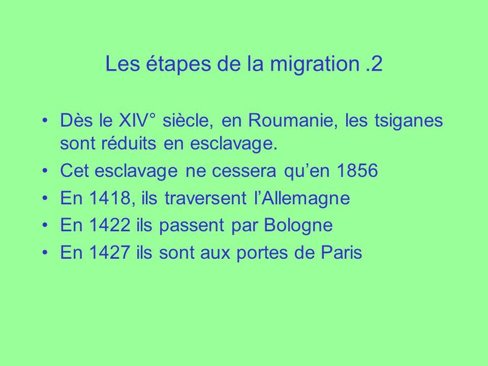 Les étapes de la migration.2 Dès le XIV° siècle, en Roumanie, les tsiganes sont réduits en esclavage. Cet esclavage ne cessera quen 1856 En 1418, ils