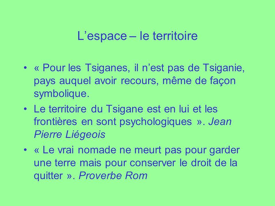 Lespace – le territoire « Pour les Tsiganes, il nest pas de Tsiganie, pays auquel avoir recours, même de façon symbolique. Le territoire du Tsigane es