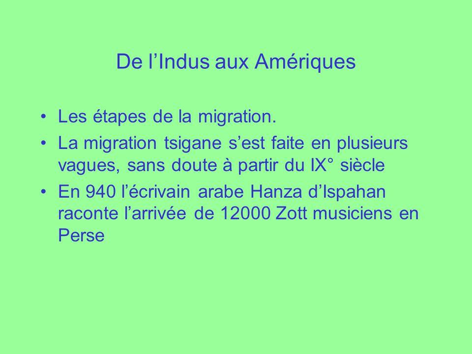 De lIndus aux Amériques Les étapes de la migration. La migration tsigane sest faite en plusieurs vagues, sans doute à partir du IX° siècle En 940 lécr