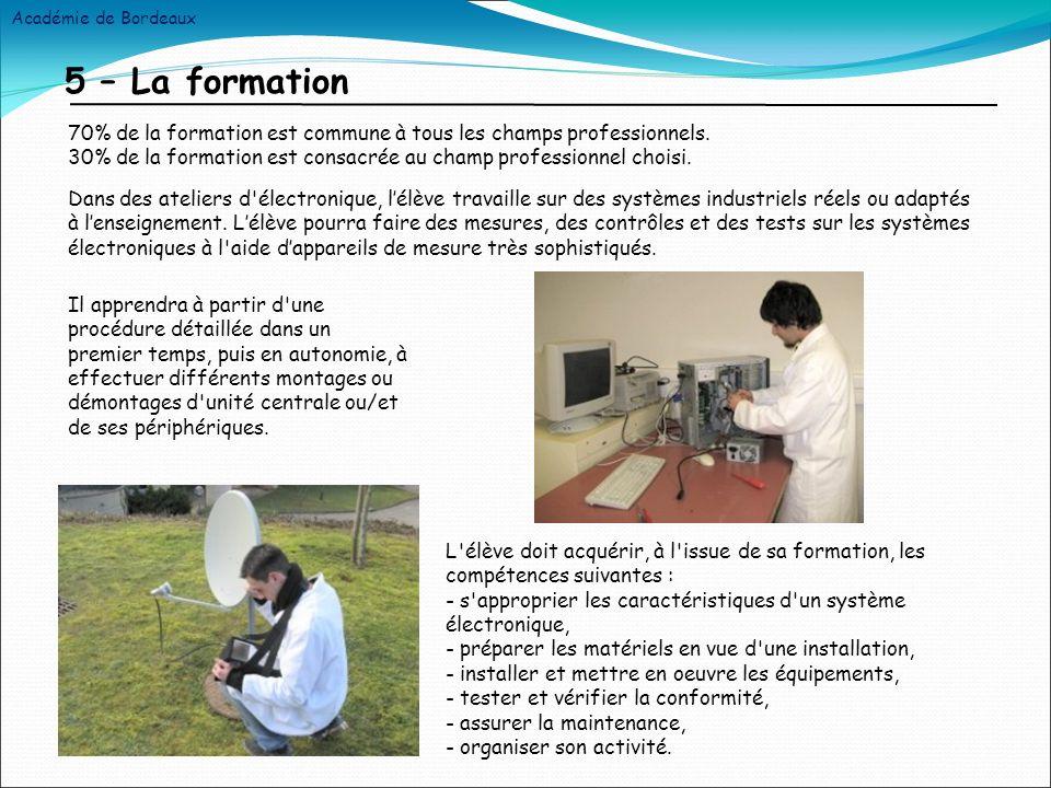5 – La formation Dans des ateliers d électronique, lélève travaille sur des systèmes industriels réels ou adaptés à lenseignement.