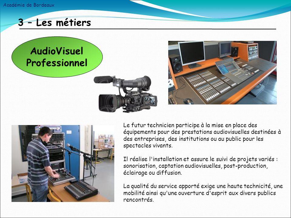 3 – Les métiers Le futur technicien participe à la mise en place des équipements pour des prestations audiovisuelles destinées à des entreprises, des institutions ou au public pour les spectacles vivants.
