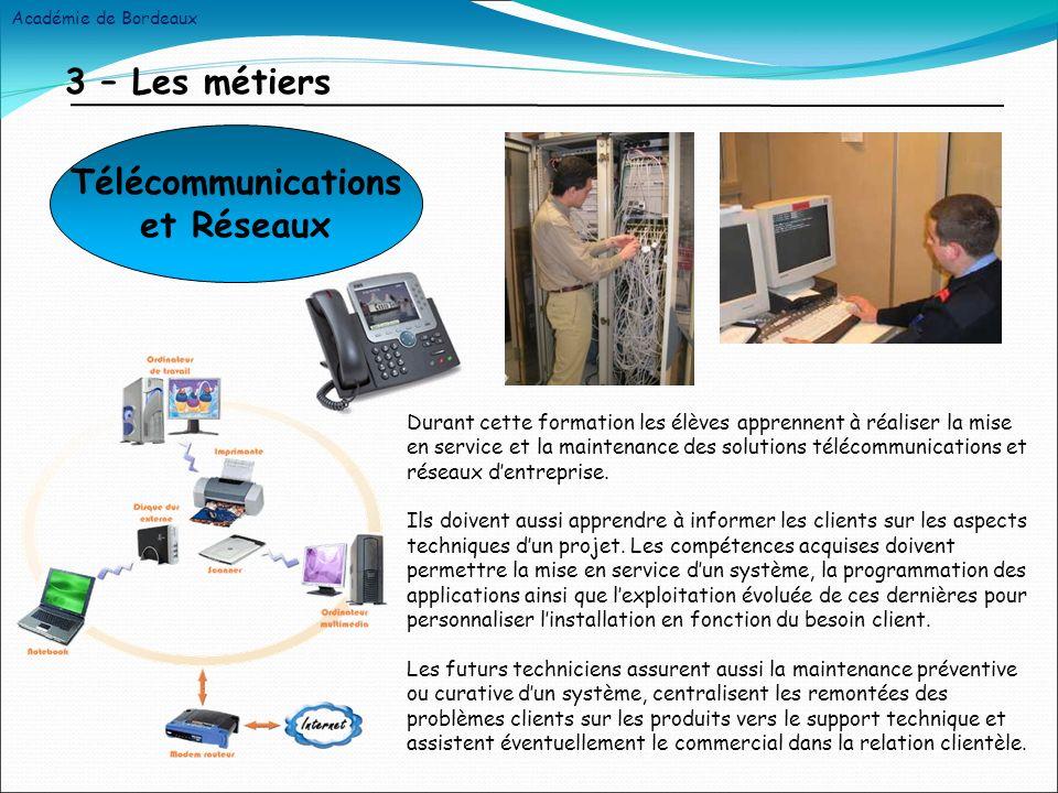 3 – Les métiers Durant cette formation les élèves apprennent à réaliser la mise en service et la maintenance des solutions télécommunications et réseaux dentreprise.