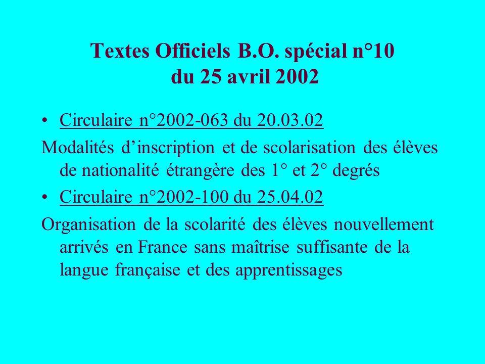 Textes Officiels B.O. spécial n°10 du 25 avril 2002 Circulaire n°2002-063 du 20.03.02 Modalités dinscription et de scolarisation des élèves de nationa