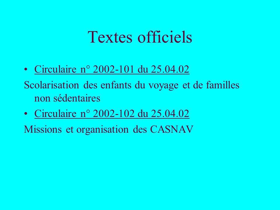Textes officiels Circulaire n° 2002-101 du 25.04.02 Scolarisation des enfants du voyage et de familles non sédentaires Circulaire n° 2002-102 du 25.04