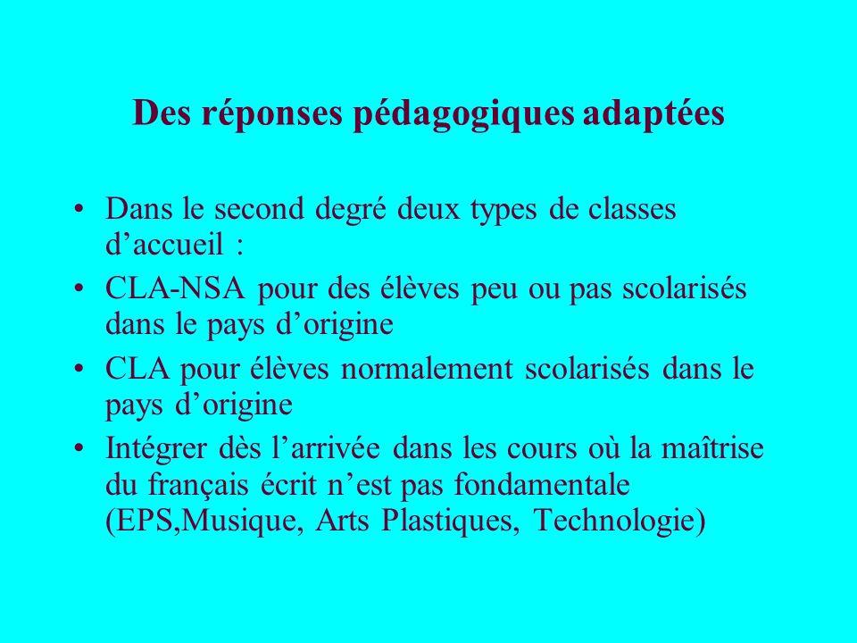 Des réponses pédagogiques adaptées Dans le second degré deux types de classes daccueil : CLA-NSA pour des élèves peu ou pas scolarisés dans le pays do