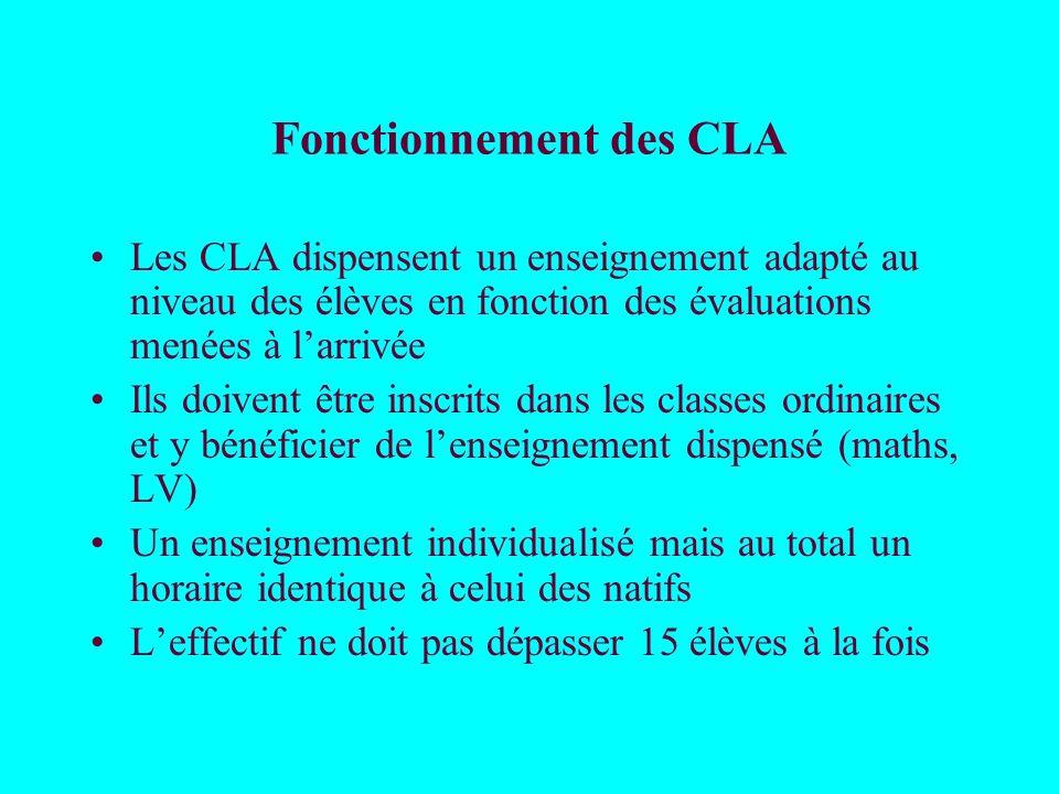 Fonctionnement des CLA Les CLA dispensent un enseignement adapté au niveau des élèves en fonction des évaluations menées à larrivée Ils doivent être i