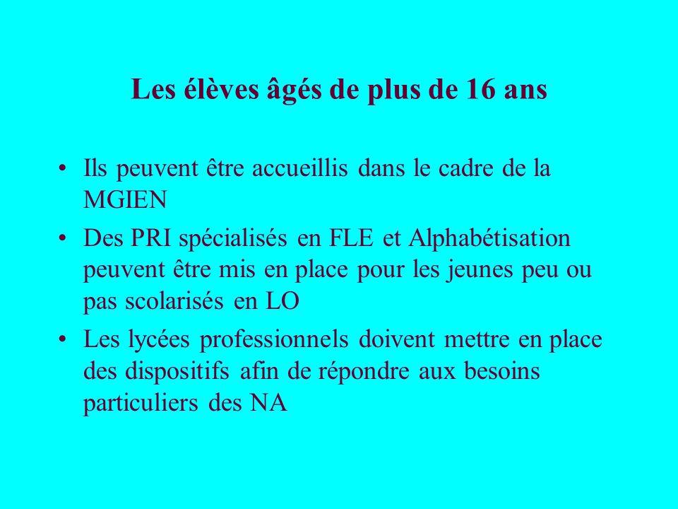 Les élèves âgés de plus de 16 ans Ils peuvent être accueillis dans le cadre de la MGIEN Des PRI spécialisés en FLE et Alphabétisation peuvent être mis