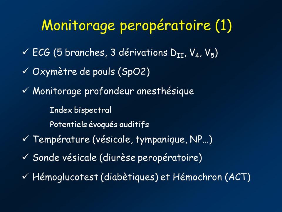 Monitorage peropératoire (1) ECG (5 branches, 3 dérivations D II, V 4, V 5 ) Oxymètre de pouls (SpO2) Monitorage profondeur anesthésique Index bispectral Potentiels évoqués auditifs Température (vésicale, tympanique, NP…) Sonde vésicale (diurèse peropératoire) Hémoglucotest (diabètiques) et Hémochron (ACT)