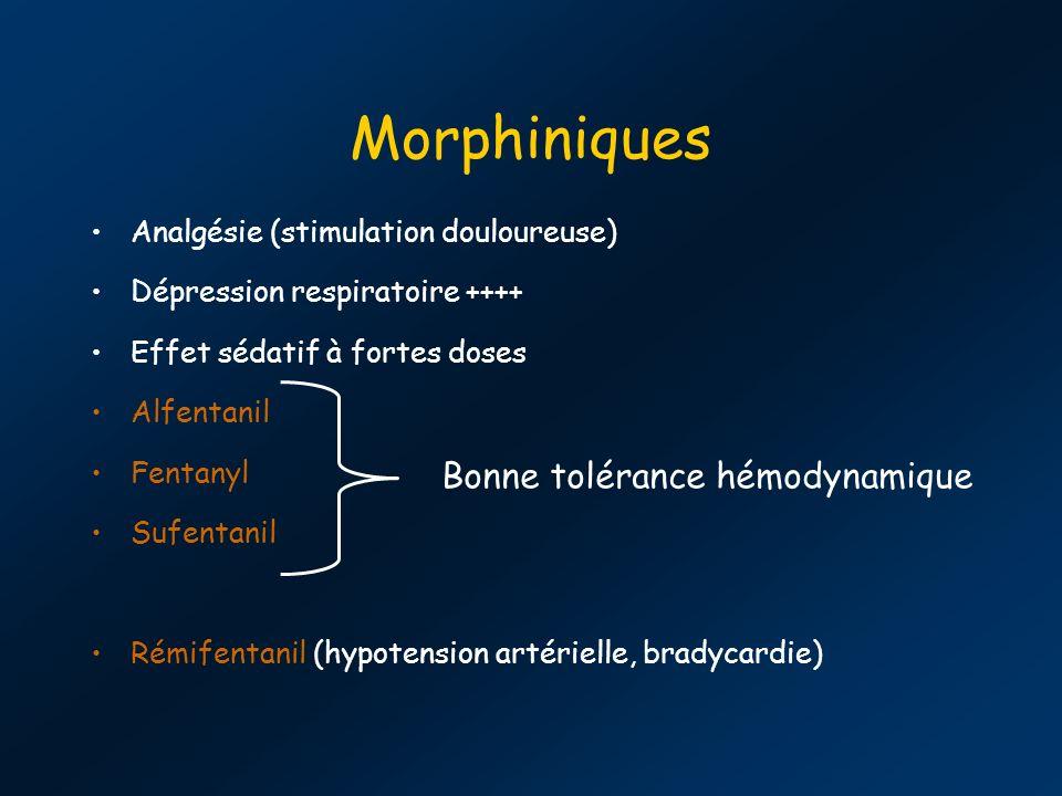Morphiniques Analgésie (stimulation douloureuse) Dépression respiratoire ++++ Effet sédatif à fortes doses Alfentanil Fentanyl Sufentanil Rémifentanil (hypotension artérielle, bradycardie) Bonne tolérance hémodynamique