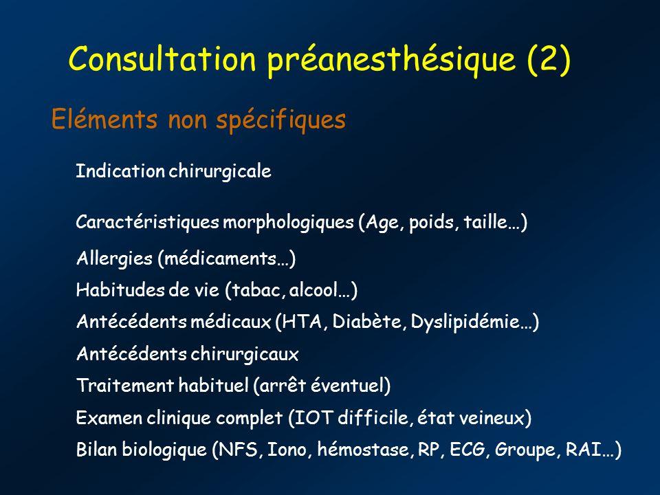 Consultation préanesthésique (2) Eléments non spécifiques Indication chirurgicale Caractéristiques morphologiques (Age, poids, taille…) Allergies (médicaments…) Habitudes de vie (tabac, alcool…) Antécédents médicaux (HTA, Diabète, Dyslipidémie…) Antécédents chirurgicaux Traitement habituel (arrêt éventuel) Examen clinique complet (IOT difficile, état veineux) Bilan biologique (NFS, Iono, hémostase, RP, ECG, Groupe, RAI…)