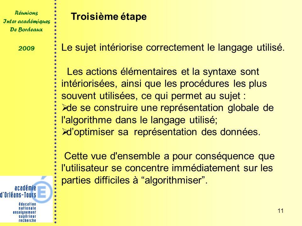 11 Réunions Inter académiques De Bordeaux 2009 Le sujet intériorise correctement le langage utilisé. Les actions élémentaires et la syntaxe sont intér