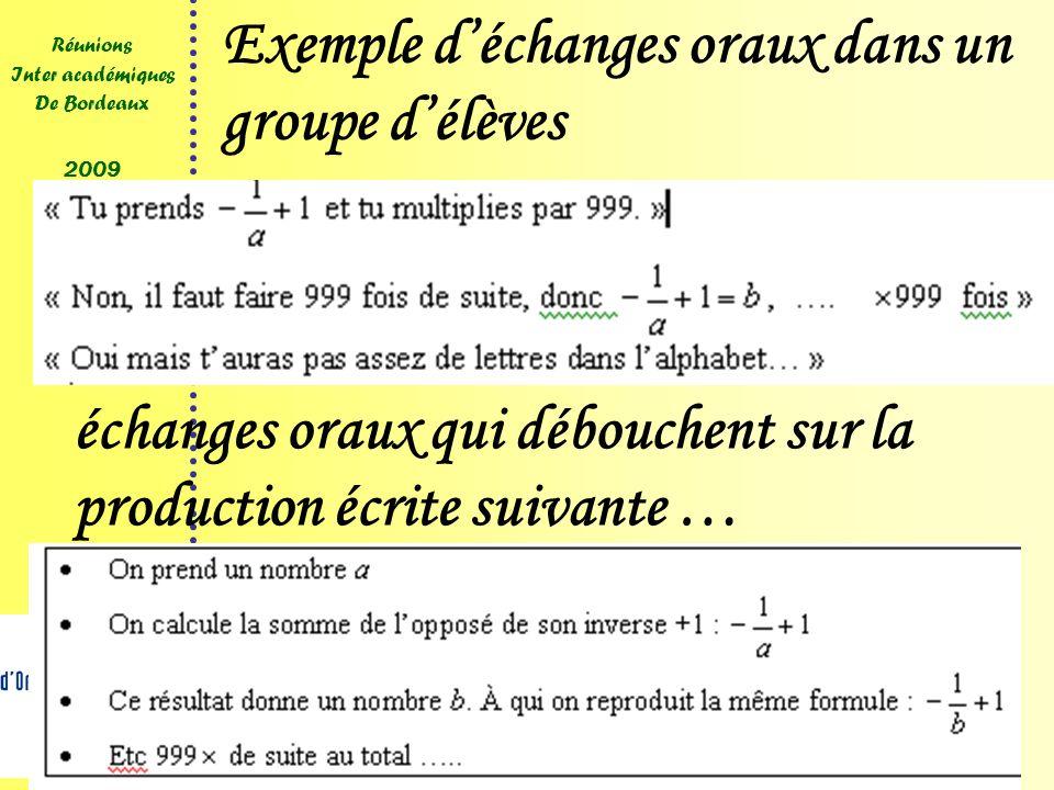 13 Réunions Inter académiques De Bordeaux 2009 Exemple déchanges oraux dans un groupe délèves échanges oraux qui débouchent sur la production écrite suivante …