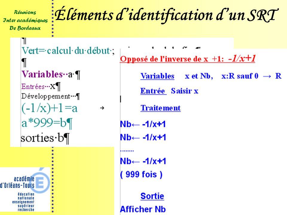 14 Réunions Inter académiques De Bordeaux 2009 Éléments didentification dun SRT