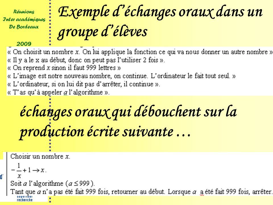 15 Réunions Inter académiques De Bordeaux 2009 Exemple déchanges oraux dans un groupe délèves échanges oraux qui débouchent sur la production écrite suivante …
