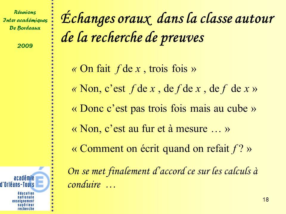 18 Réunions Inter académiques De Bordeaux 2009 Échanges oraux dans la classe autour de la recherche de preuves « On fait f de x, trois fois » « Non, cest f de x, de f de x, de f de x » « Donc cest pas trois fois mais au cube » « Non, cest au fur et à mesure … » « Comment on écrit quand on refait f .