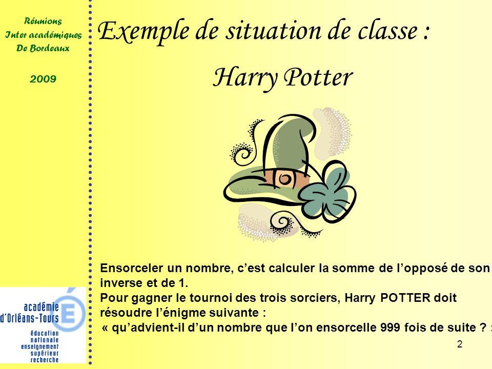 2 Réunions Inter académiques De Bordeaux 2009 Exemple de situation de classe : Ensorceler un nombre, cest calculer la somme de lopposé de son inverse et de 1.