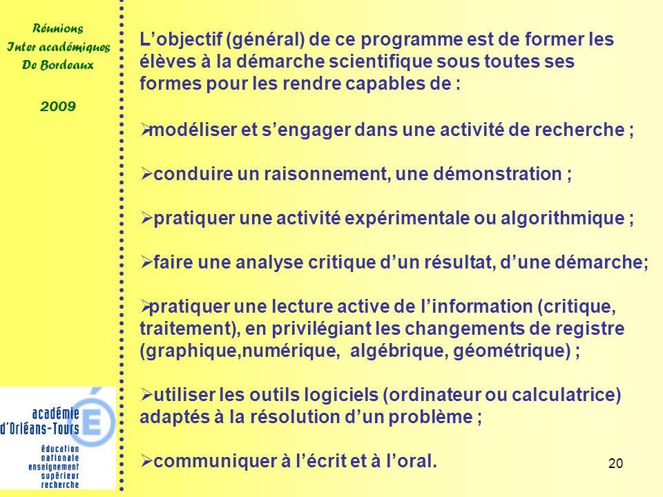 20 Réunions Inter académiques De Bordeaux 2009 modéliser et sengager dans une activité de recherche ; conduire un raisonnement, une démonstration ; pr