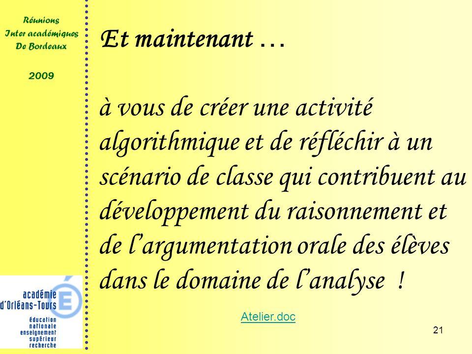 21 Réunions Inter académiques De Bordeaux 2009 Et maintenant … à vous de créer une activité algorithmique et de réfléchir à un scénario de classe qui contribuent au développement du raisonnement et de largumentation orale des élèves dans le domaine de lanalyse .