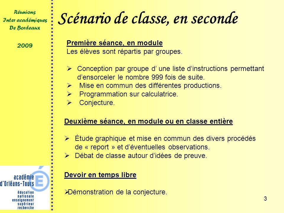 3 Réunions Inter académiques De Bordeaux 2009 Scénario de classe, en seconde Première séance, en module Les élèves sont répartis par groupes. Concepti