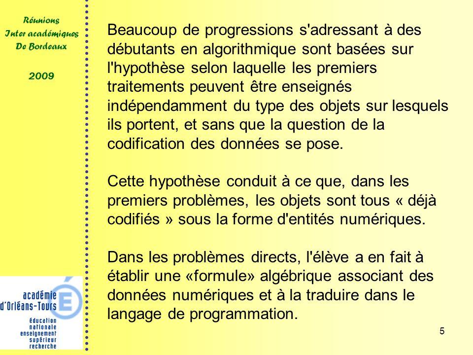 5 Réunions Inter académiques De Bordeaux 2009 Beaucoup de progressions s'adressant à des débutants en algorithmique sont basées sur l'hypothèse selon