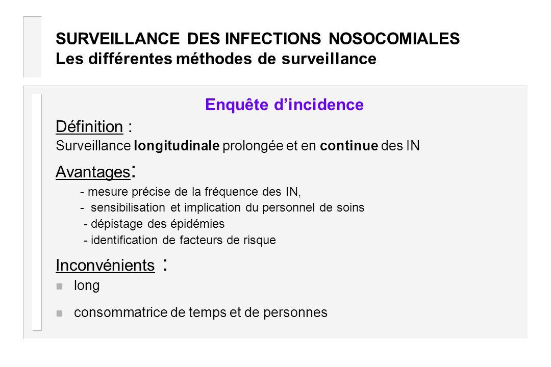 SURVEILLANCE DES INFECTIONS NOSOCOMIALES Les différentes méthodes de surveillance Enquête dincidence Définition : Surveillance longitudinale prolongée