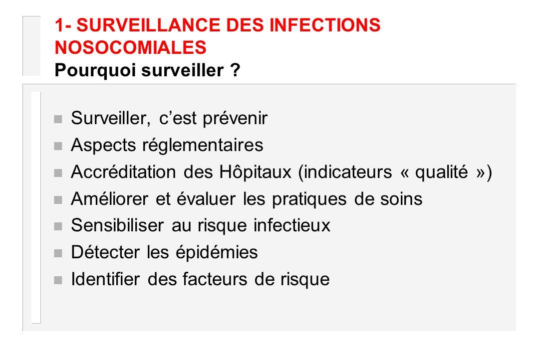 1- SURVEILLANCE DES INFECTIONS NOSOCOMIALES Pourquoi surveiller ? n Surveiller, cest prévenir n Aspects réglementaires n Accréditation des Hôpitaux (i
