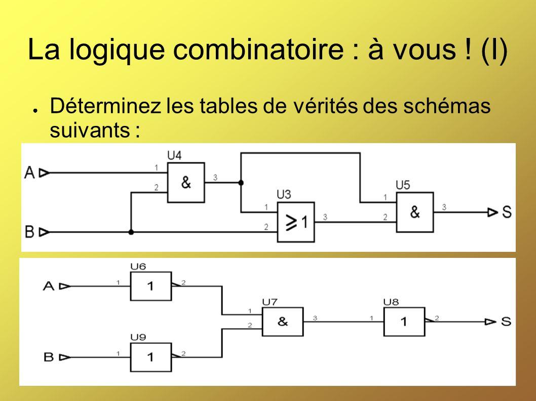 La logique combinatoire : à vous ! (I) Déterminez les tables de vérités des schémas suivants :