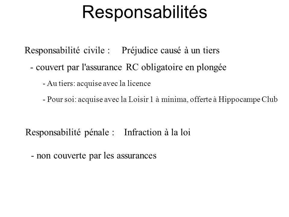 Responsabilité pénale :Infraction à la loi - non couverte par les assurances Responsabilité civile :Préjudice causé à un tiers - couvert par l'assuran