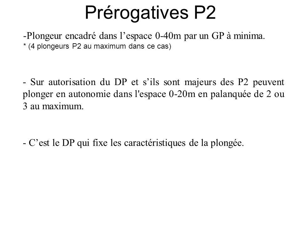 -Plongeur encadré dans lespace 0-40m par un GP à minima. * (4 plongeurs P2 au maximum dans ce cas) - Sur autorisation du DP et sils sont majeurs des P