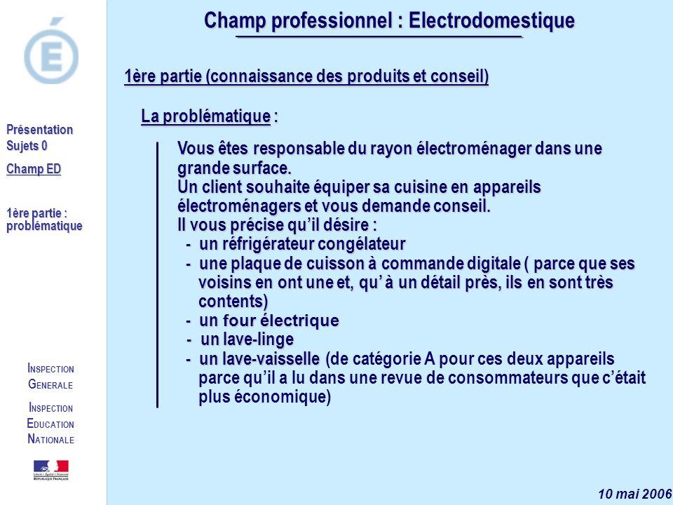 I NSPECTION G ENERALE I NSPECTION E DUCATION N ATIONALE Présentation Sujets 0 Champ ED 1ère partie : questionnement Champ professionnel : Electrodomestique 10 mai 2006 1.