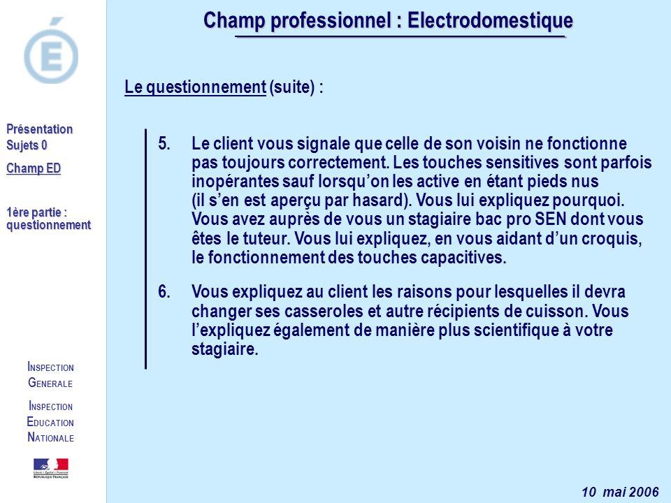 I NSPECTION G ENERALE I NSPECTION E DUCATION N ATIONALE Présentation Sujets 0 Champ ED 1ère partie : questionnement Champ professionnel : Electrodomes