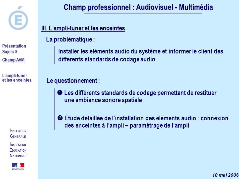 I NSPECTION G ENERALE I NSPECTION E DUCATION N ATIONALE Présentation Sujets 0 Champ AVM Lampli-tuner et les enceintes Champ professionnel : Audiovisuel - Multimédia 10 mai 2006 III.
