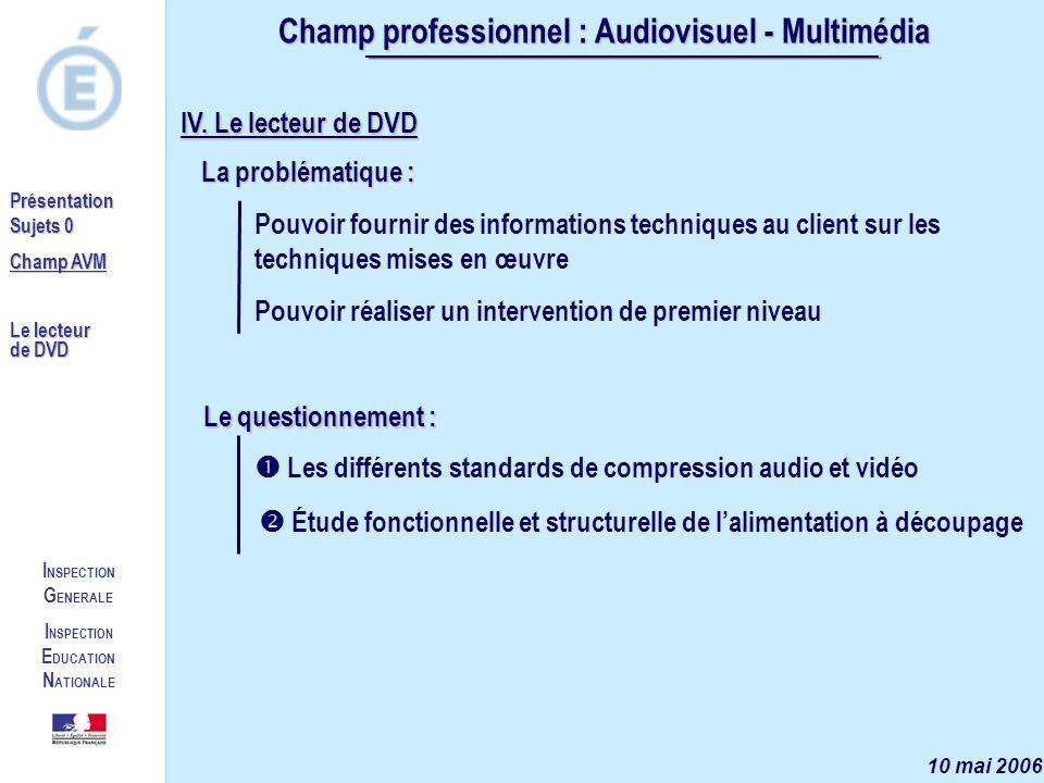 I NSPECTION G ENERALE I NSPECTION E DUCATION N ATIONALE Présentation Sujets 0 Champ AVM Le lecteur de DVD Champ professionnel : Audiovisuel - Multimédia 10 mai 2006 IV.