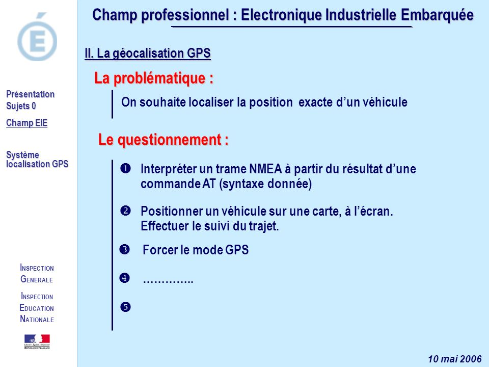 I NSPECTION G ENERALE I NSPECTION E DUCATION N ATIONALE Présentation Sujets 0 Champ EIE Système localisation GPS Champ professionnel : Electronique In