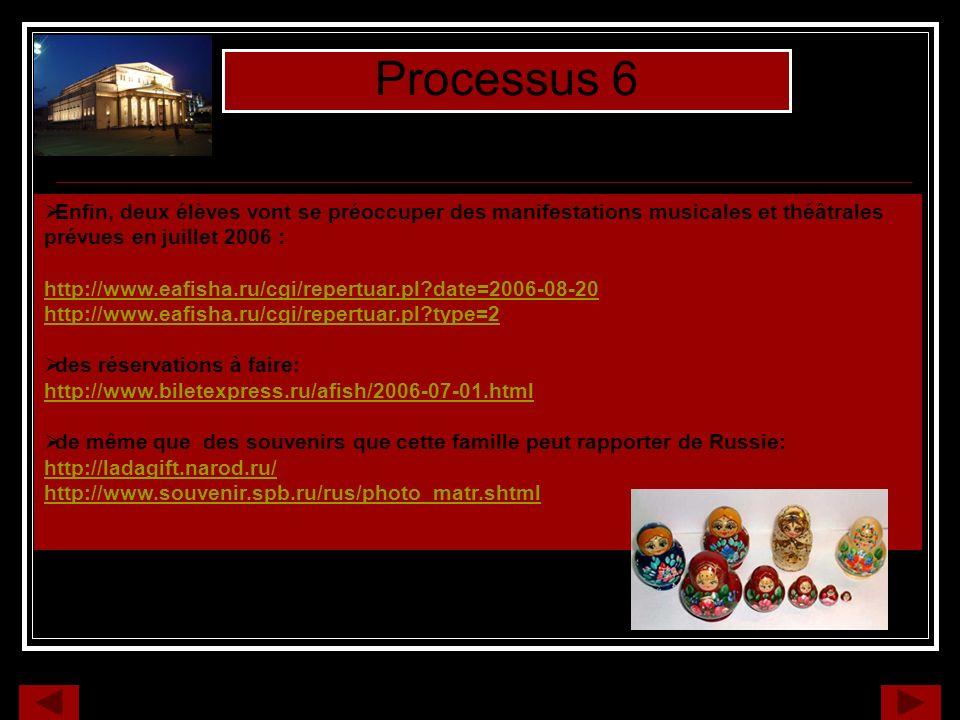 Processus 6 Enfin, deux élèves vont se préoccuper des manifestations musicales et théâtrales prévues en juillet 2006 : http://www.eafisha.ru/cgi/repertuar.pl?date=2006-08-20 http://www.eafisha.ru/cgi/repertuar.pl?type=2 des réservations à faire: http://www.biletexpress.ru/afish/2006-07-01.html de même que des souvenirs que cette famille peut rapporter de Russie: http://ladagift.narod.ru/ http://www.souvenir.spb.ru/rus/photo_matr.shtml