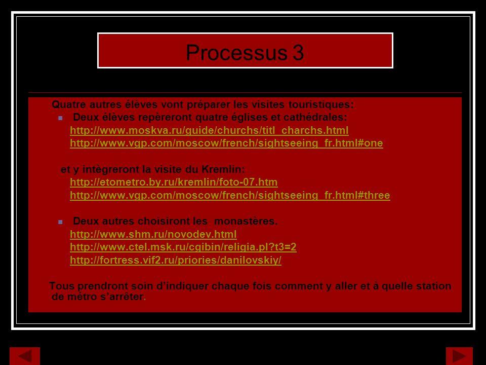 Quatre autres élèves vont préparer les visites touristiques: Deux élèves repèreront quatre églises et cathédrales: http://www.moskva.ru/guide/churchs/titl_charchs.html http://www.vgp.com/moscow/french/sightseeing_fr.html#one et y intègreront la visite du Kremlin: http://etometro.by.ru/kremlin/foto-07.htm http://www.vgp.com/moscow/french/sightseeing_fr.html#three Deux autres choisiront les monastères.
