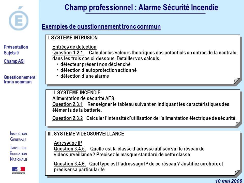I NSPECTION G ENERALE I NSPECTION E DUCATION N ATIONALE Présentation Sujets 0 Champ ASI Questionnement tronc commun Champ professionnel : Alarme Sécur