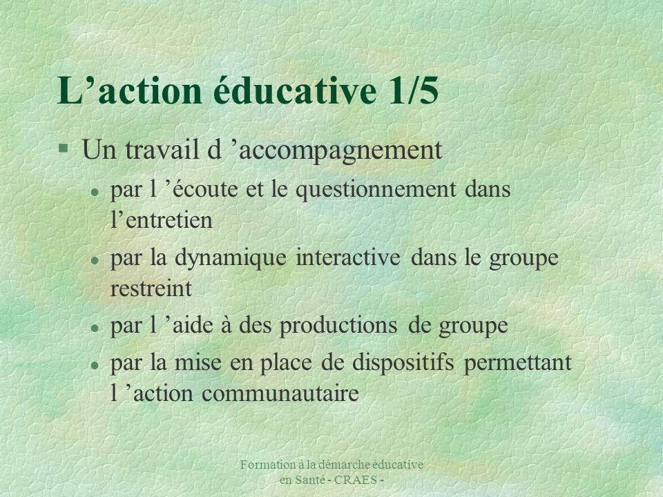 Formation à la démarche éducative en Santé - CRAES - Laction éducative 1/5 §Un travail d accompagnement l par l écoute et le questionnement dans lentr