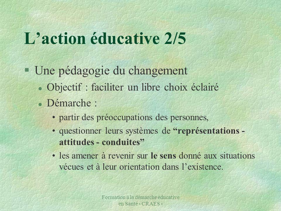 Formation à la démarche éducative en Santé - CRAES - Laction éducative 2/5 §Une pédagogie du changement l Objectif : faciliter un libre choix éclairé