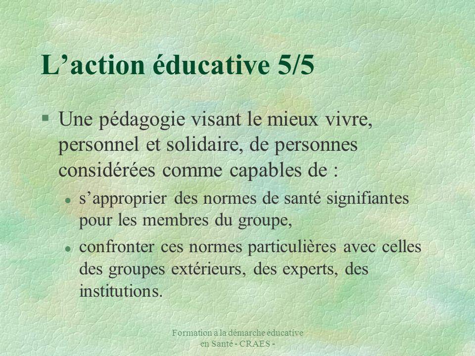 Formation à la démarche éducative en Santé - CRAES - Laction éducative 5/5 §Une pédagogie visant le mieux vivre, personnel et solidaire, de personnes