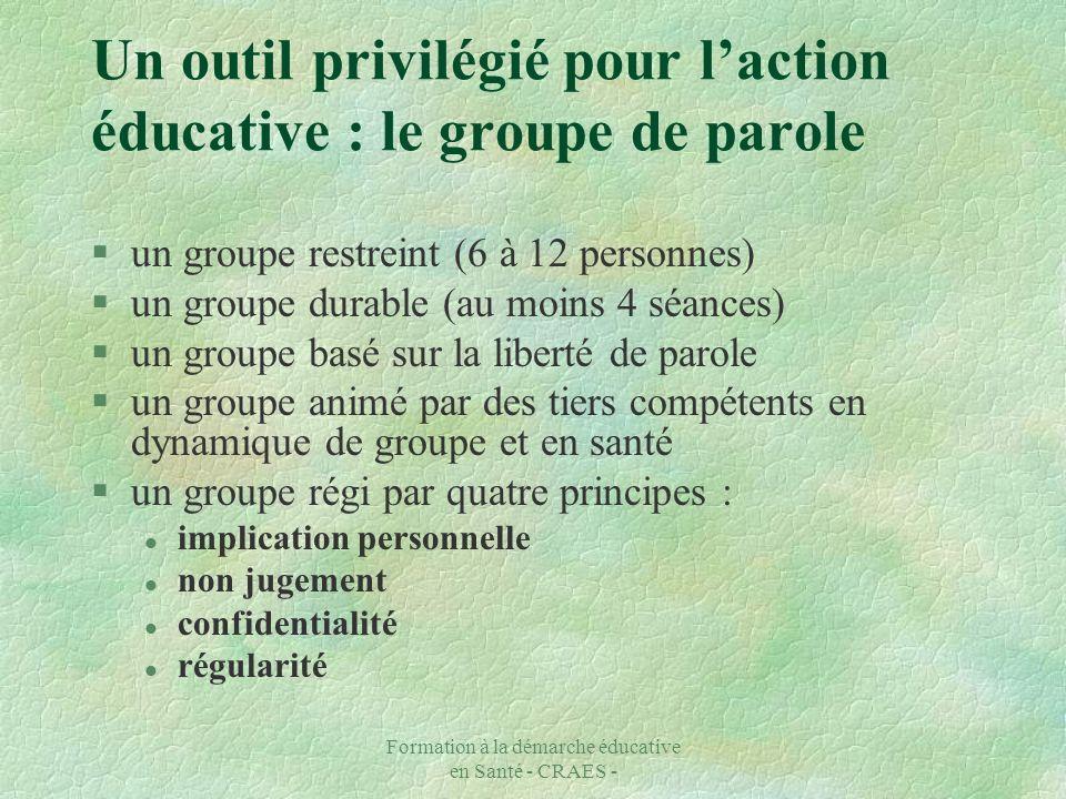 Formation à la démarche éducative en Santé - CRAES - Un outil privilégié pour laction éducative : le groupe de parole §un groupe restreint (6 à 12 per