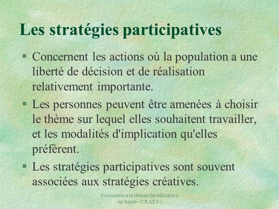Formation à la démarche éducative en Santé - CRAES - Les stratégies participatives §Concernent les actions où la population a une liberté de décision