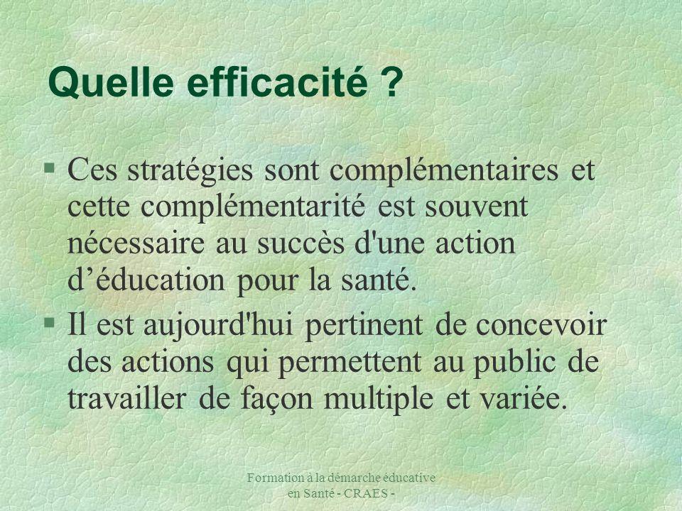 Formation à la démarche éducative en Santé - CRAES - §Ces stratégies sont complémentaires et cette complémentarité est souvent nécessaire au succès d'