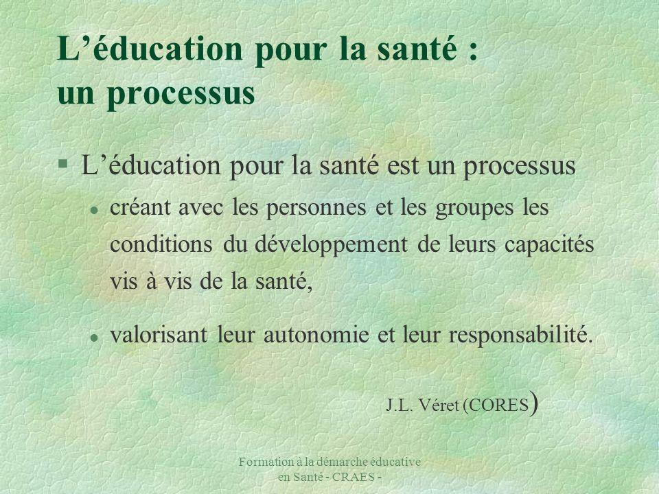 Formation à la démarche éducative en Santé - CRAES - Léducation pour la santé : un processus §Léducation pour la santé est un processus l créant avec