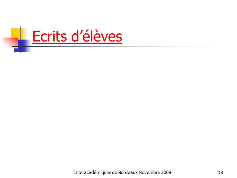 Ecrits délèves Interacadémiques de Bordeaux Novembre 200913