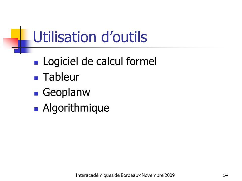 Utilisation doutils Logiciel de calcul formel Tableur Geoplanw Algorithmique Interacadémiques de Bordeaux Novembre 200914