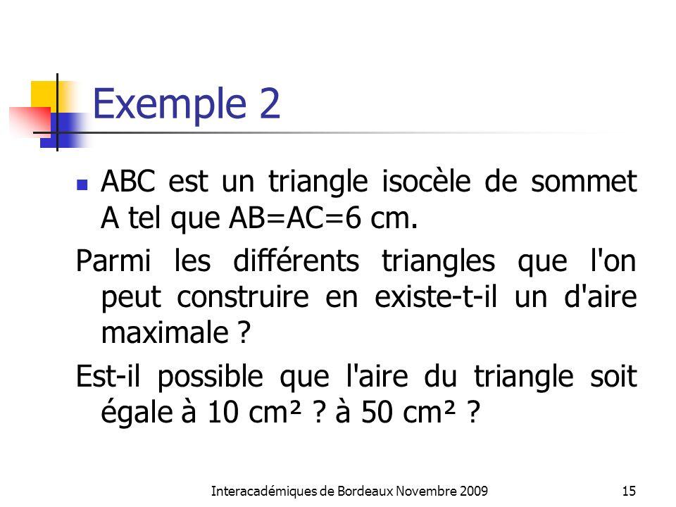 Exemple 2 ABC est un triangle isocèle de sommet A tel que AB=AC=6 cm. Parmi les différents triangles que l'on peut construire en existe-t-il un d'aire