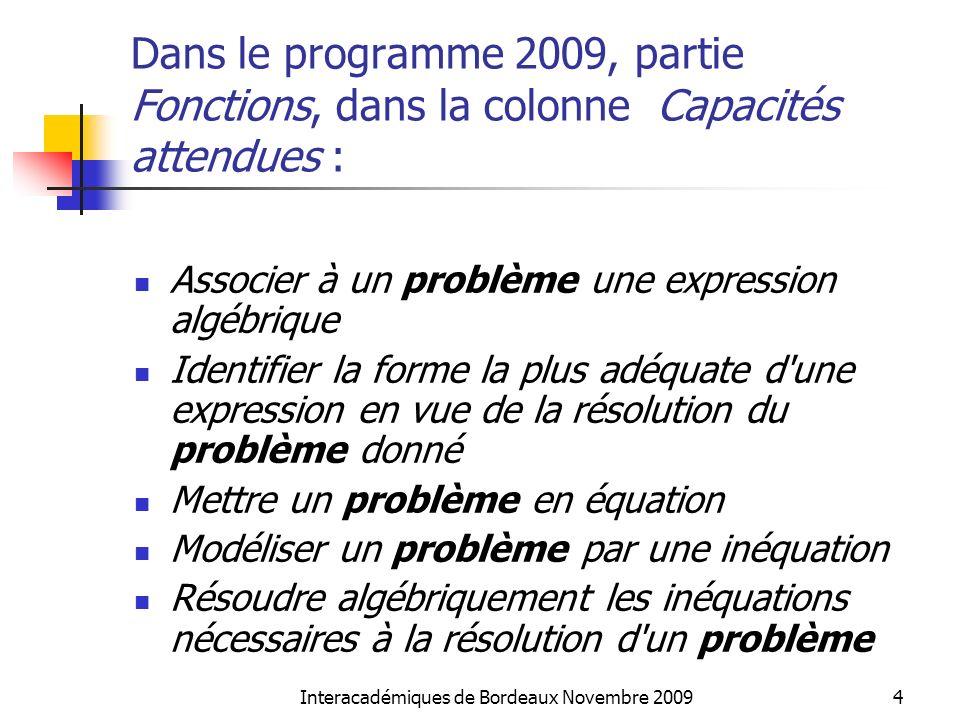 Interacadémiques de Bordeaux Novembre 20094 Dans le programme 2009, partie Fonctions, dans la colonne Capacités attendues : Associer à un problème une