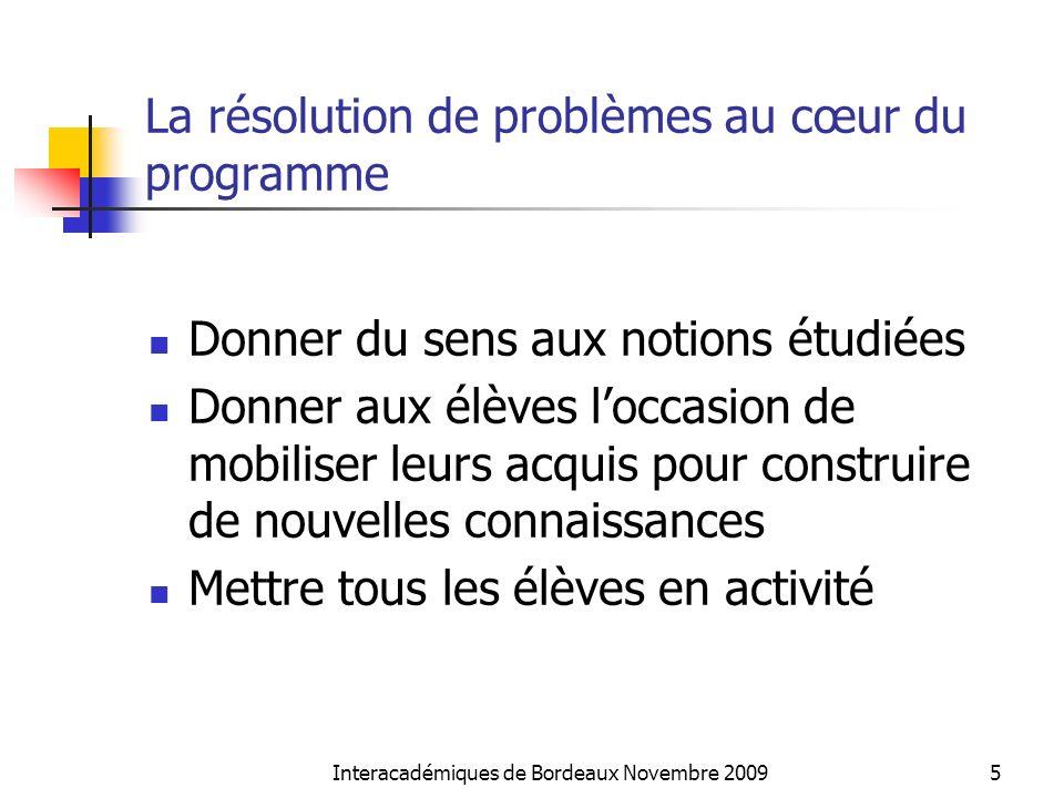Interacadémiques de Bordeaux Novembre 20095 La résolution de problèmes au cœur du programme Donner du sens aux notions étudiées Donner aux élèves locc